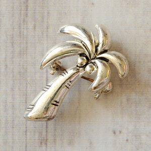 silver tone palm tree pendant brooch pin euc
